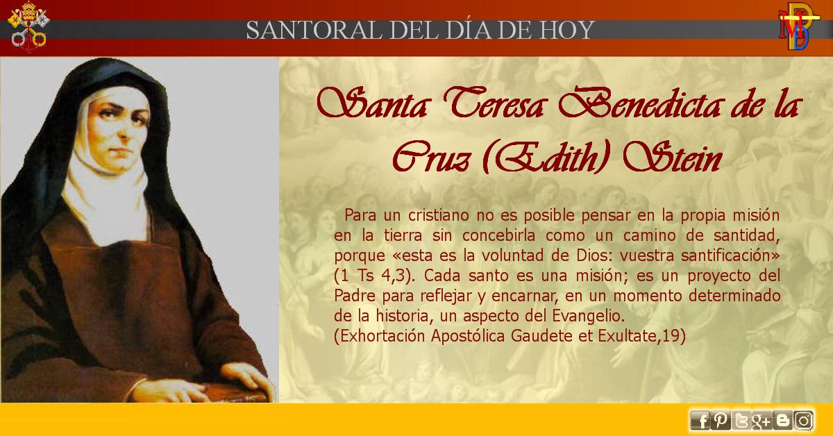 Misioneros De La Palabra Divina Santoral Santa Edith Stein