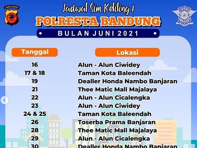 Jadwal Layanan SIM Keliling Polresta Bandung Bulan Juni 2021