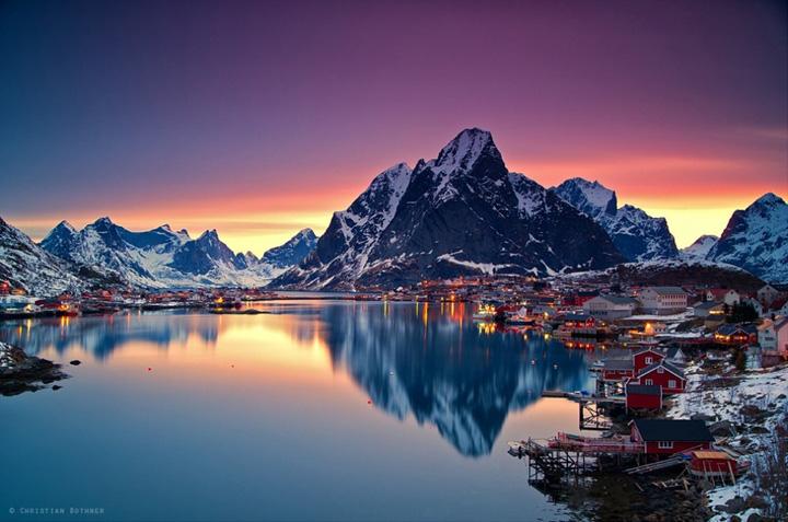 dünyadan göl manzaralı kış manzara resimleri