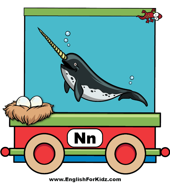 Letter N is for nest, narwhal and newt - ABC train wall decor