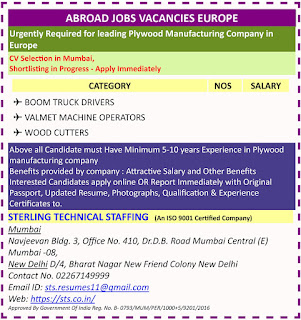 Urgently Required for leading Plywood Manufacturing Company in Europe text image