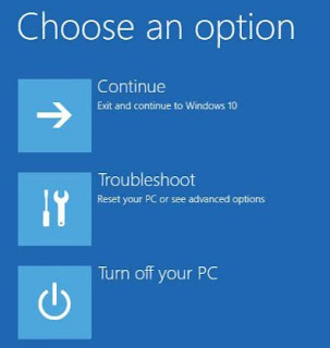 Reset Windows 10 melalui boot menu