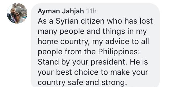 Syrian national to Filipinos: 'Stand by your president, he will make your country safe and strong'