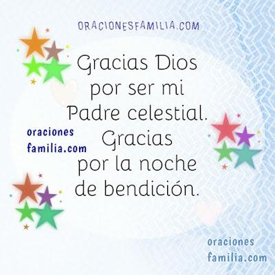 Imagen con oración gracias a Dios por la noche de bendición
