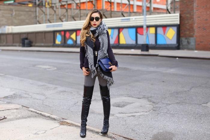 Fringe vintage scarf, blanket scarf, off shoulder sweater, free people cold shoulder sweater, celine classic box bag, karen walker sunglasses, Kendra Scott earrings, OTK boots, grey jeans, nyc street style