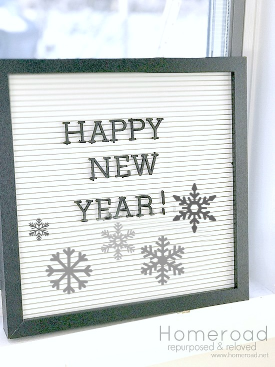 Happy New Year winter mantel