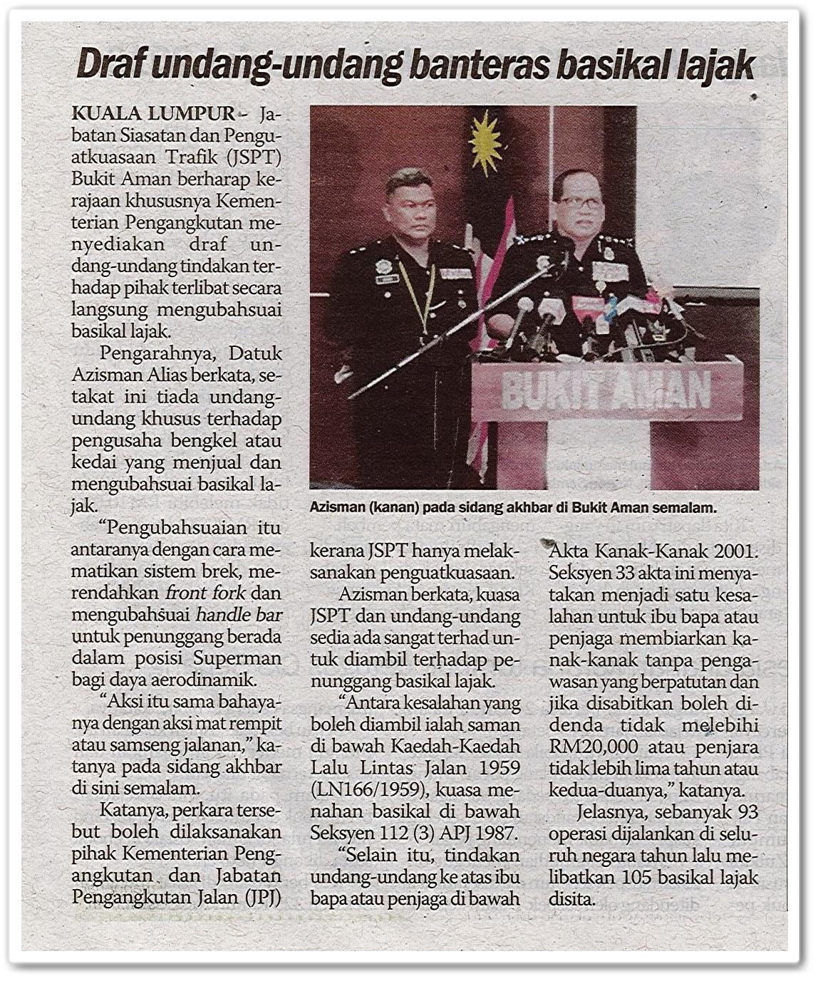 Draf undang-undang banteras basikal lajak - Keratan akhbar Sinar Harian 5 November 2019
