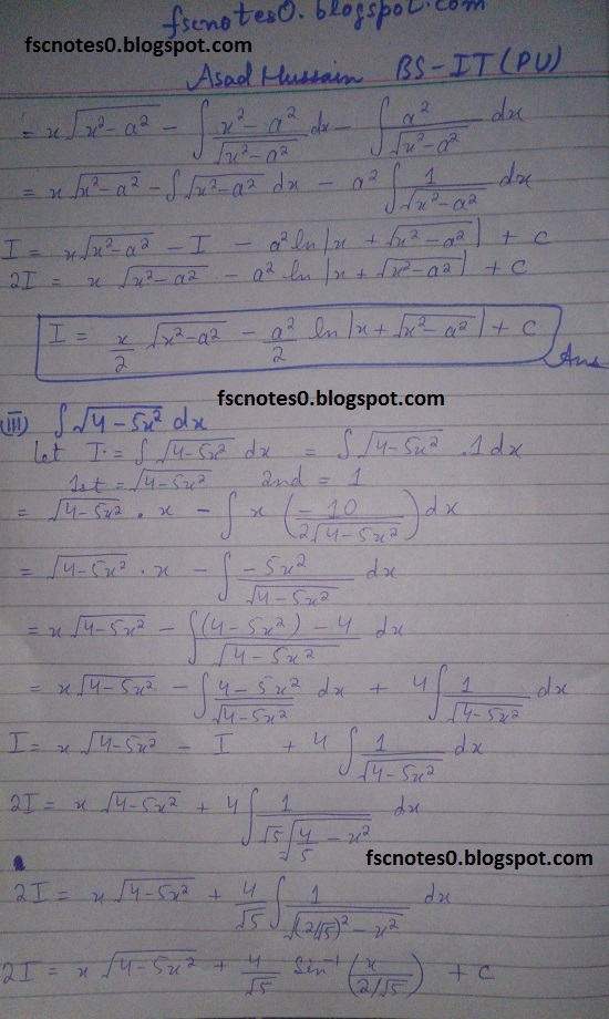 FSc ICS Notes Math Part 2 Chapter 3 Integration Exercise 3.4 Question 4 by Asad Hussain 1