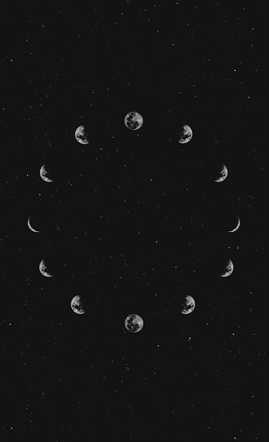 دورة إكتمال القمر في عدة مراحل بشكل دائري moon