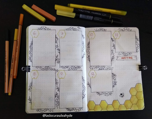 Bullet Journal semana vista Abril 2020 tematica abejorro en colores amarillos