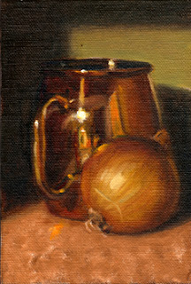 Oil painting of a brown onion beside a shiny copper-plated mug.