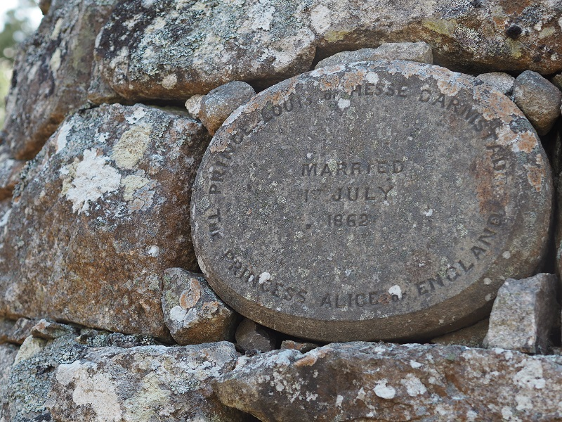 Stone plaque on Princess Alice's cairn at Balmoral