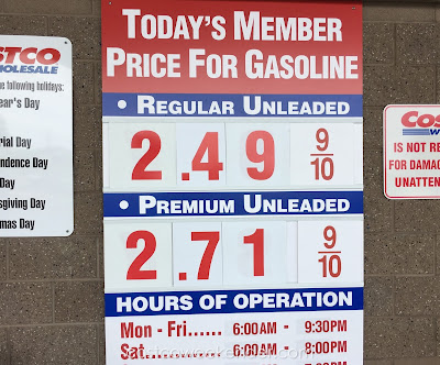 Costco gas for May 3, 2016 at Redwood City, CA