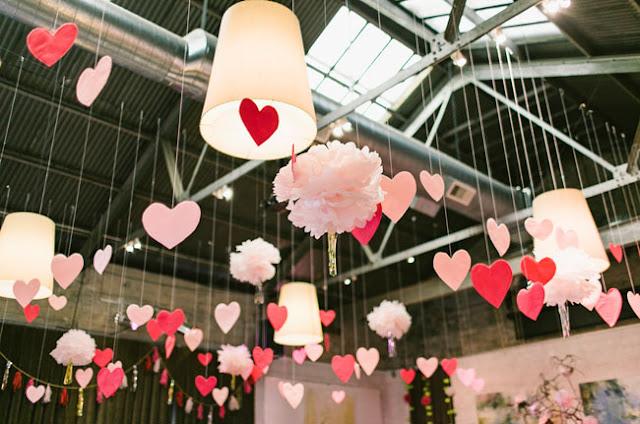 decoração com corações