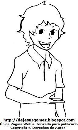 Dibujo de un hombre joven con enorme sonrisa para colorear, pintar e imprimir. Dibujo de joven hecho por Jesus Gómez