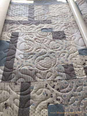 Sandra's Blue Linen Quilt, with Ginger Hearts Pattern