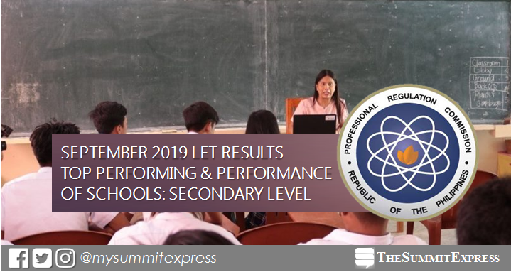 September 2019 LET Result: Performance of schools Secondary