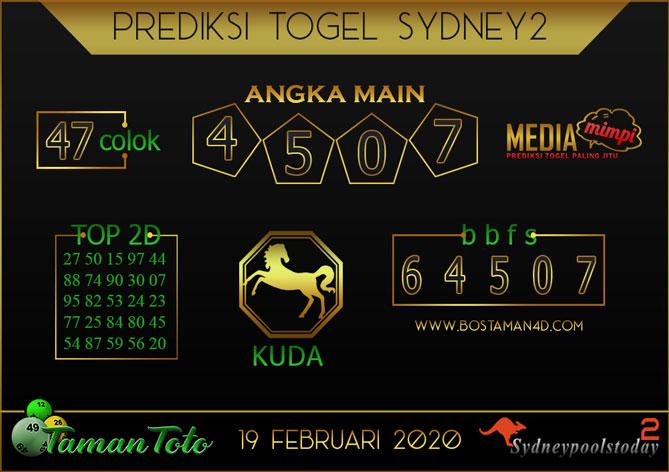 Prediksi Togel SYDNEY 2 TAMAN TOTO 19 FEBRUARY 2020