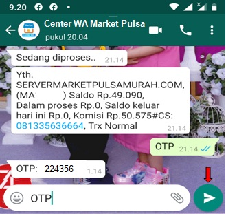 kirim OTP market mobile topup