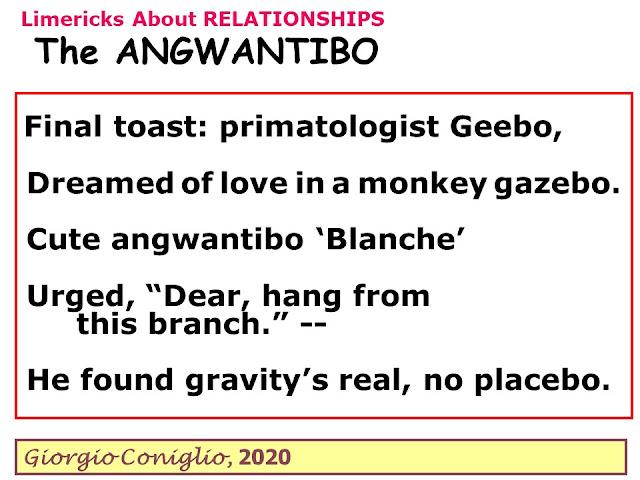 limerick; primates;limerick; primates; relationships; zoophilia; Africa;  Giorgio Coniglio