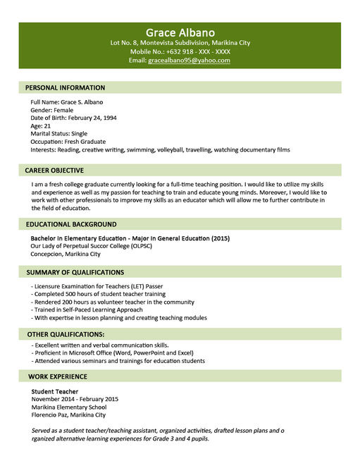 resume cv skills and qualifications