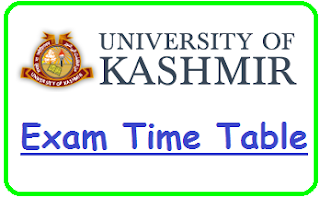 Kashmir University Exam Time Table 2019