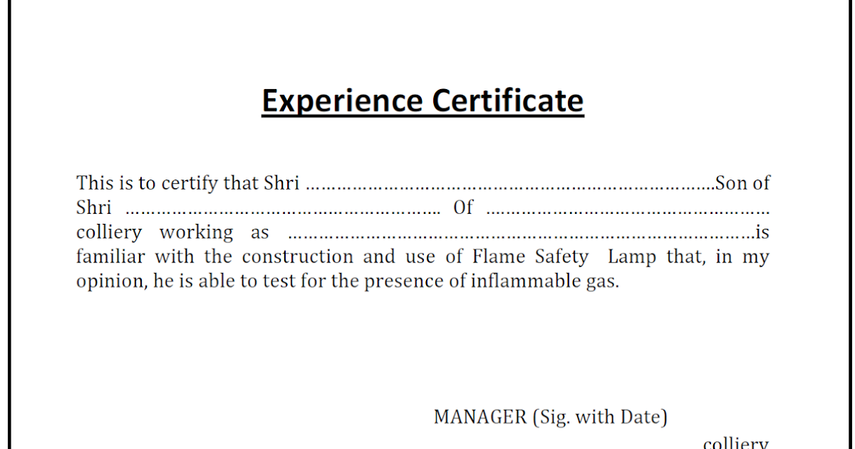 Lamp Handling Certificate Experience Certificate
