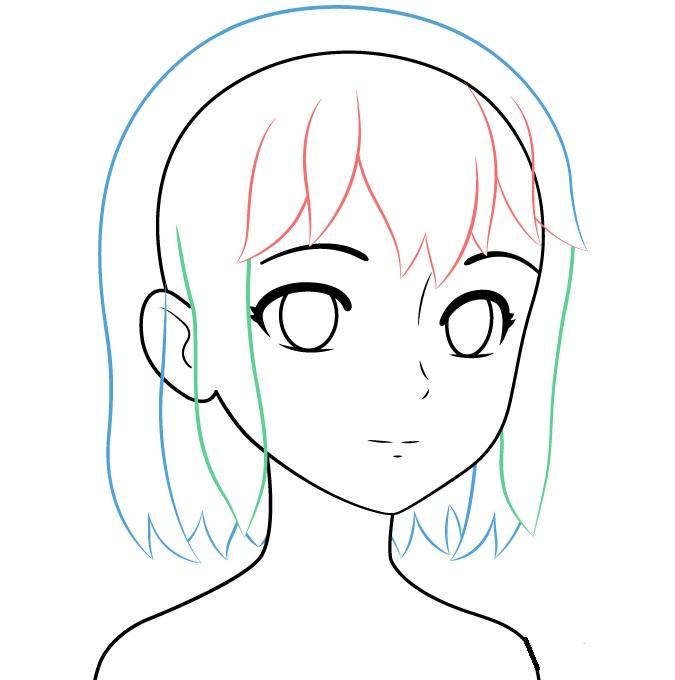 Tampilan rambut gadis anime tiga perempat