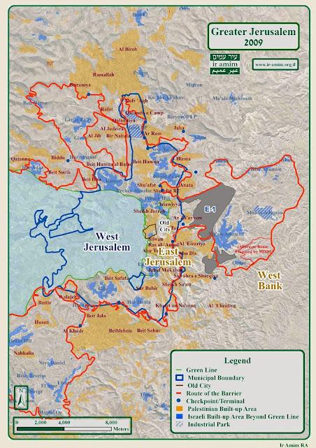 Mapa de Jerusalém - Israel