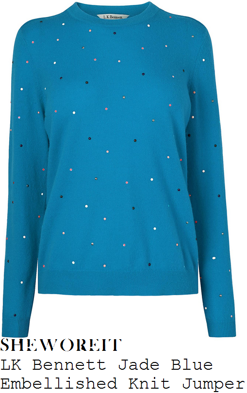 lorraine-kelly-lk-bennett-jade-bright-azure-blue-and-multicoloured-polka-dot-embellishment-detail-long-sleeve-ribbed-trim-merino-wool-blend-jumper