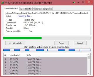 Kecepatan download IDM mecapai 1.345 mb/ sec