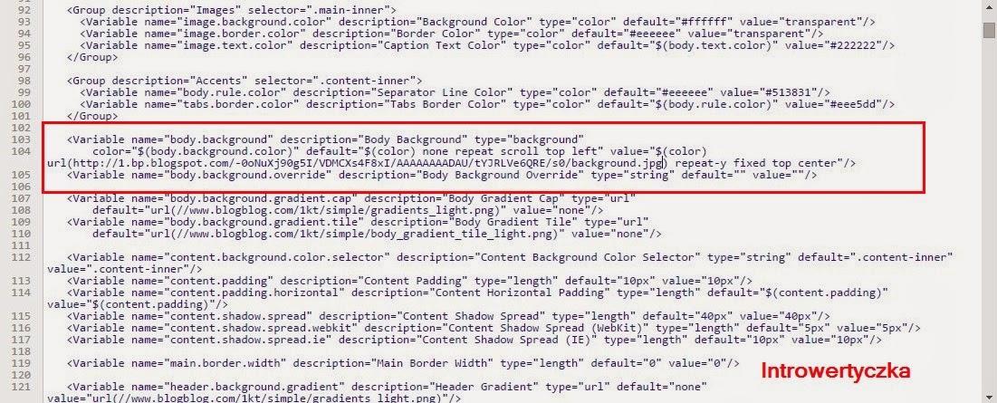 Szablon prosty bloggera - kod HTML