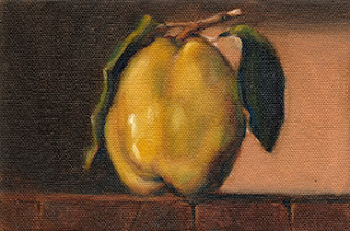 Oil painting of a quince with two leaves on a block of wood.
