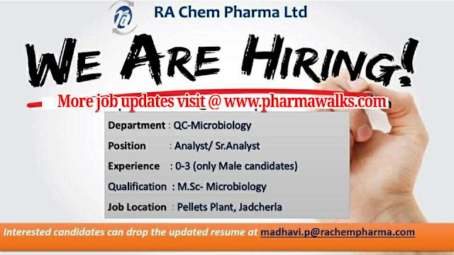 RA Chem Pharma urgent openings for Freshers & Experienced in QC - Microbiology