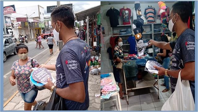 PETI realiza ação de conscientização do trabalho infantil e prevenção ao coronavírus no Mercado Público de Patos
