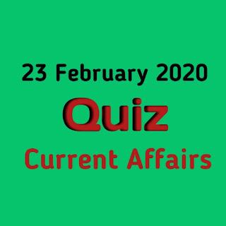 Current Affairs Quiz in Hindi - 23 February 2020