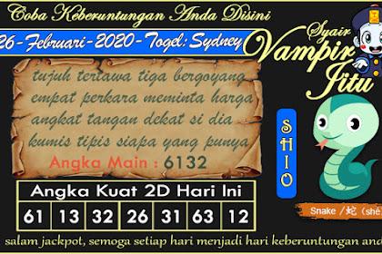 Syair Vampir Jitu Togel Sydney Rabu 26 Februari 2020