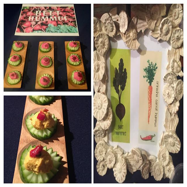 gluten free, vegan, plant based food catering menus served on handcarved cucumber crowns