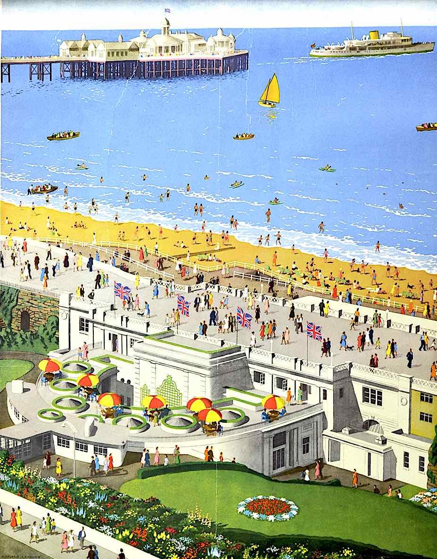a Ronald Lampitt travel poster illustration of a beach