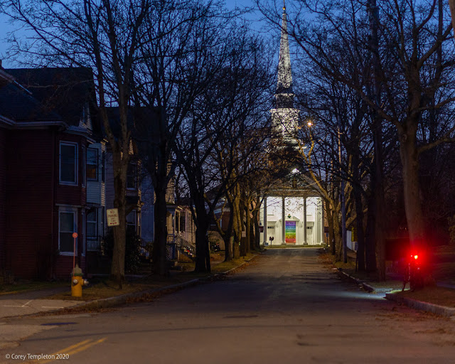 Portland, Maine USA December 2020 photo by Corey Templeton. The view down Nevens Street towards the stately Woodfords Congregational Church.