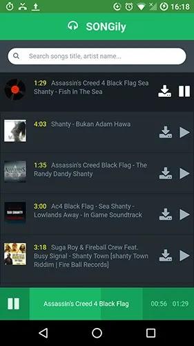 تنزيل مجاني للموسيقى تطبيقات لـ android-songily