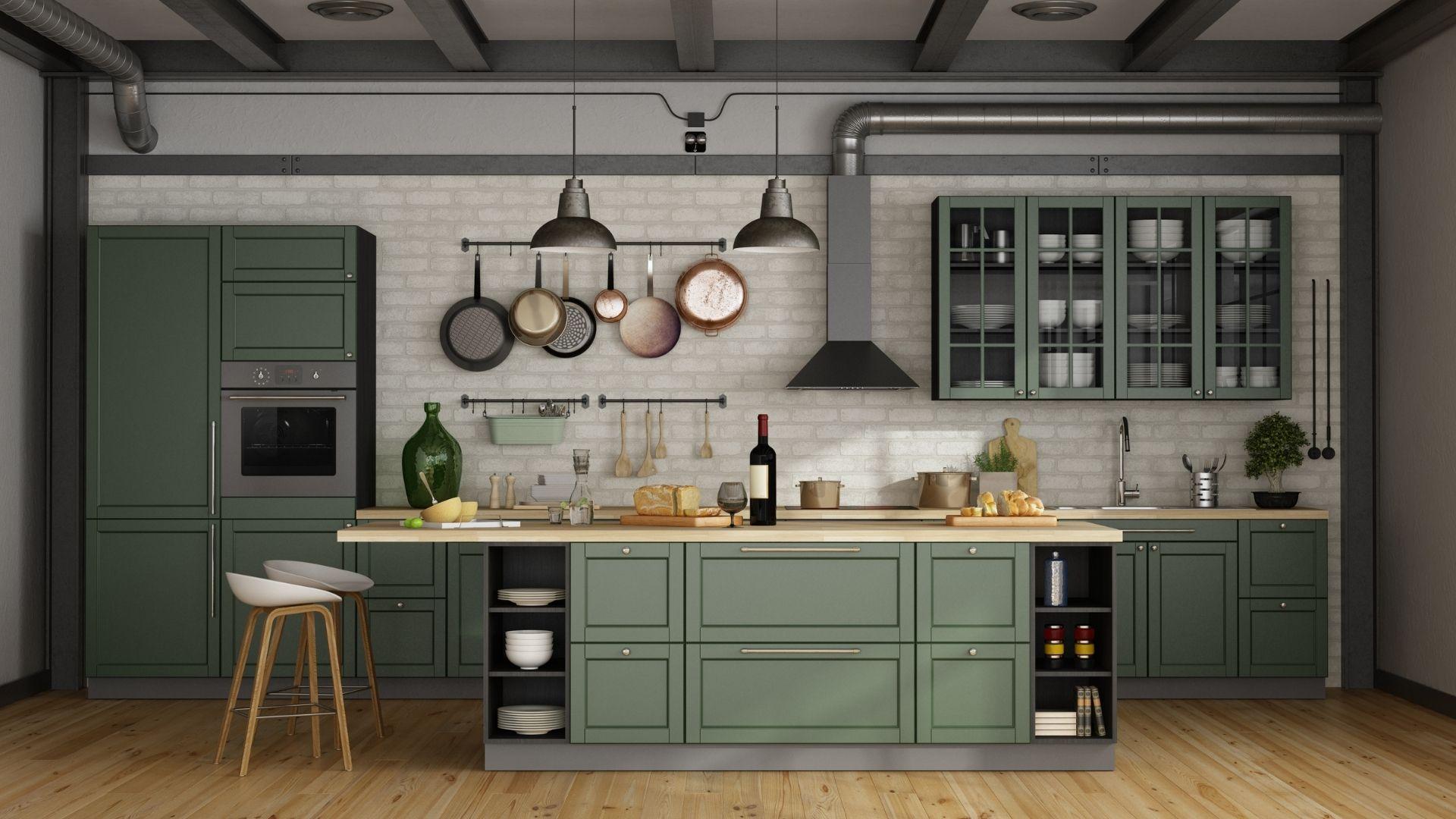 kuchnia w kolorze zielonym zdjęcia