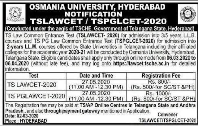 TSLAWCET TSPGLCET Entrance Notification Exam Dates Application form Eligibility /2020/03/TSLAWCET-TSPGLCET-Entrance-Notification-Exam-Dates-Application-form-Eligibility.html