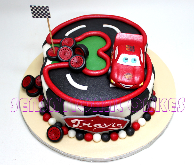 NUMBER 3 THREE RACE CARS CAKE SINGAPORE FORMULA ONE 2015 NIGHT 3D CHILDREN