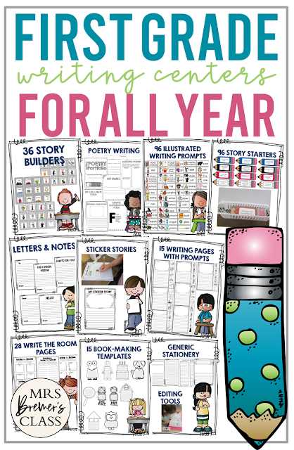 This pack includes everything you'll need for your 1st Grade writing center! Activities include: 36 Story builders, 96 illustrated word cards, writing letters & notes, 96 writing prompts, sticker stories, poetry writing, 15 write the room activities, book-making templates, generic stationery for any occasion, writing pages with story prompt words, and editing checklists for self & peer editing.
