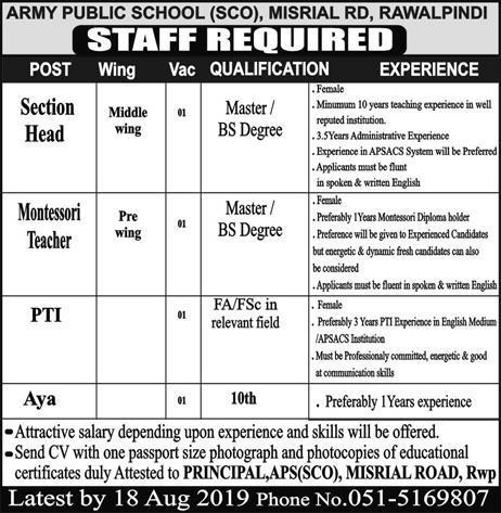 Advertisement for Army Public School Jobs