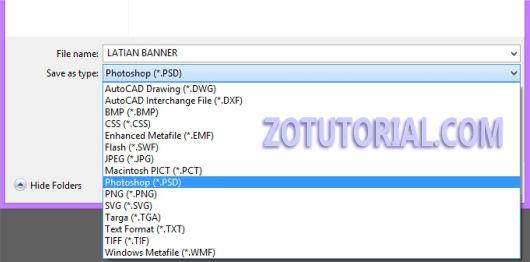 Cara Save File Adobe Illustrator menjadi PSD, PNG, JPG, TIF by zotutorial.com
