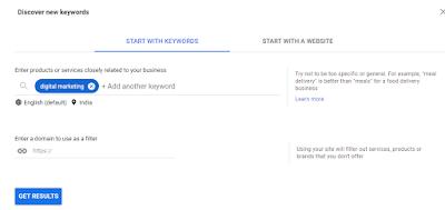 google keyword planner get result