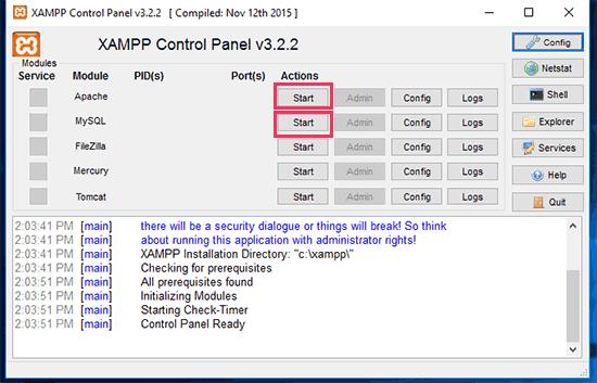 Inicie Apache y MySQL para iniciar su servidor local