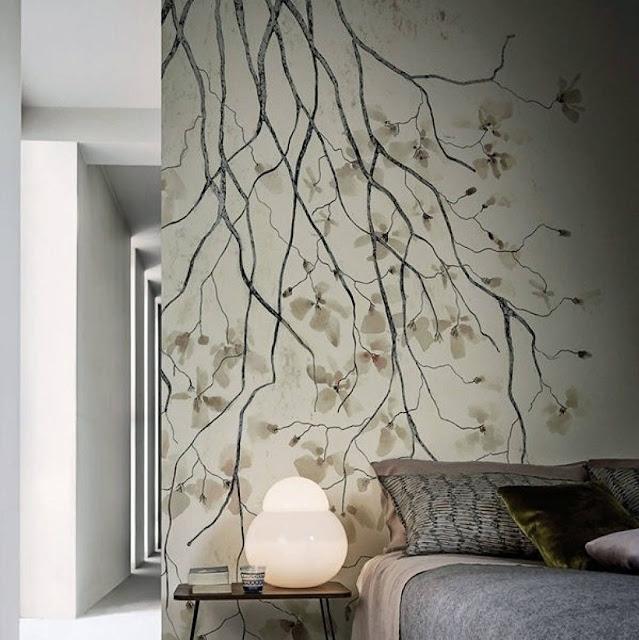 Wallpaper Dinding Kamar Tidur Sederhana Motif Ranting Pohon